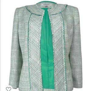 Kasper Lurex 3/4 Open Tweed Jacket  Green Sz 24W